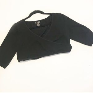Intimately Free People Black Cropped Wrap Top